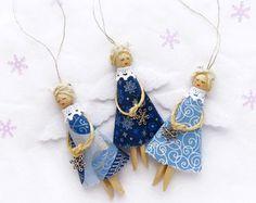 Burlap Christmas Angels Set of 3 Christmas by VasilinkaStore