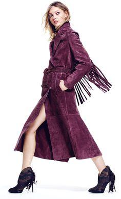 Burberry Prorsum Long-Sleeve Long Trench Coat with Fringe Detail Suede Trench Coat, Long Trench Coat, Purple Fashion, High Fashion, Womens Fashion, Long White Coat, Fringe Coats, Coats For Women, Clothes For Women