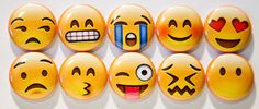 Set of 10 Emoji Faces 1 Pinback Buttons Set 1 by 8bitbuttons