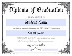 Donna Young's Printable High School Diploma...this will sure come in handy!