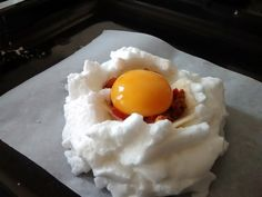 Pictures of how to make a dragon egg for breakfast. Kind of like a fluffy, meatless version of a scotch egg.