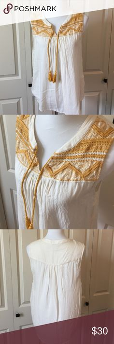 Cream & Gold Lucky Tank Tie front tank. Worn once. 100% rayon Lucky Brand Tops Tank Tops