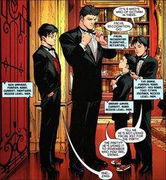 The Bat-Family Bruce, Dick, Tim,Damian