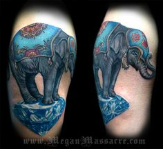 Elephant on a Diamond Tattoo by Megan Massacre. I seriously want all of her work on my body! :)