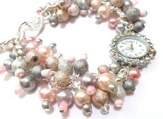 Pink & Silver Beaded Watch Pink Watch Silver Watch by FunkyPinks