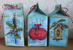 Made by Myra. with love: Melkpakje/milk carton Christmas Bird, Christmas Ornaments, Card Tags, Creative Art, Merry, Journey, Seasons, Stamps, Holiday Decor