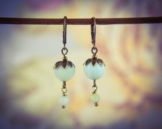 Bronze and Light Green Amazonite Oriental Style Gemstone Drop Earrings [E78] by BourneBling on Etsy