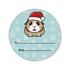 Cartoon Guinea Pig Christmas Gift Labels Round Sticker http://www.zazzle.com/popcornprints/gifts?cg=196649862742024937&rf=238205274887202706