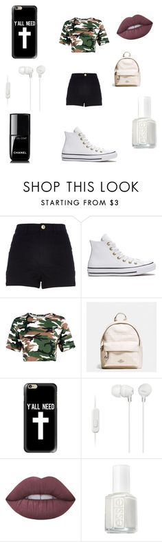 """Summers here!!"" by princessxkira ❤ liked on Polyvore featuring River Island, Converse, Coach, Casetify, Sony, Lime Crime, Essie and Chanel"