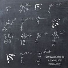 Hand drawn chalkboard corner clip art for scrapbooking, card making, blog graphics. You need to use this chalk doodle corner on top of chalkboard #artsandcraftsclipart,