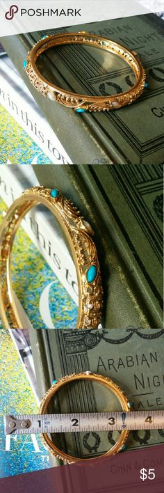 Gold bangle with blue and white accents Gold light weight bangle with bright blue and white accents Jewelry Bracelets