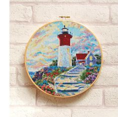 This listing is a PDF file of the pattern LIGHTHOUSE, not the finished product. It is simple and suitable for beginners. This PDF counted cross stitch pattern available for instant download.  This PDF pattern include cross stitch patterns (in colors and black and white symbols) with