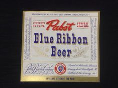 Pabst Blue Ribbon Beer Label IRTP 1940's New Old Stock  #pabst #pbr #pbrmeasap #cjbeez #beer #breweriana