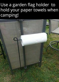 Use a Flag Holder to hold your Paper Towels while Camping.these are the BEST C. - Use a Flag Holder to hold your Paper Towels while Camping…these are the BEST Camping Ideas, Gear, - Camping Hacks, Camping Info, Camping Bedarf, Camping Survival, Family Camping, Outdoor Camping, Glamping, Camping Stuff, Luxury Camping