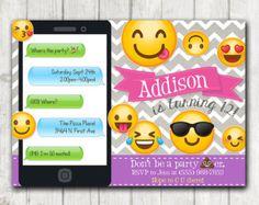 Invitación de fiesta de cumpleaños de Emoji para por HappyBarn