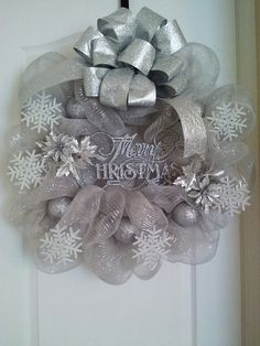 24 in Silver Decomesh Wreath Makes a great gift by DesignsByDawson, $50.00