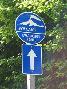 One of many emergency evacuation route signs  in case of eruption or lahar around Mt. Rainier