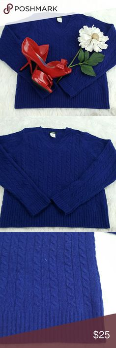 """SALE J.Crew Deep Blue Cashmere Sweater Amazing J.Crew Deep Blue Cashmere Sweater 40% Wool 30% Rayon 20% Rabbit Hair 10% Cashmere 20"""" from the top of the shoulder to the bottom 24"""" Sleeve length 17"""" from armpit to armpit Perfect Fall Sweater J. Crew Sweaters V-Necks"""