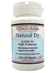 Vitamin D-3 -2,000 IU 120 Softgels by Protocol. Save 10 Off!. $9.00. Helps Maintain Strong BonesVitamin D3 softgels supply this key vitamin in a highly absorbable liquid softgel form.  Vitamin D is normally obtained from the diet or produced by the skin from the ultraviolet energy of the sun.  However it is not abundant in food.  As more people avoid sun exposure, Vitamin D supplementation becomes even more necessary to ensure that your body receives an adequate supply.Vitamin D...
