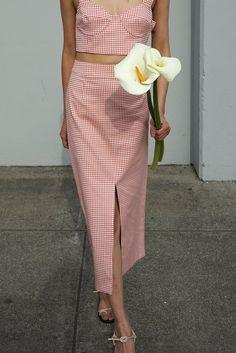Long Skirt in Tomato Gingham   Waltz