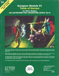 Tomb of Horrors is an adventure module written by Gary Gygax for the Dungeons and Dragons role-playing game. Dungeons And Dragons Art, Advanced Dungeons And Dragons, Tomb Of Horrors, Gary Gygax, D Book, Book Art, Forgotten Realms, Tv Tropes, Ready Player One