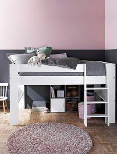 Lit cabane pour les petits lit cabane surelev avec habillage tissu pour enfant 4 ans 5 ans 6 - Lits superposes vertbaudet ...