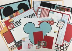 disney scrapbook page kit 4 layouts 8 pages