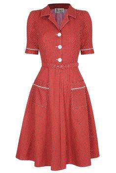 Love this sweet, timelessly pretty Red Utility Dress from MisKonduct. #vintage #reproduction #clothing #fashion