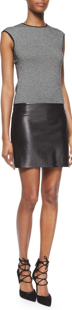 Ralph Lauren Black Label Cashmere & Leather Combo Dress