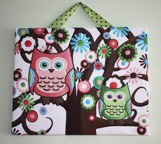 Two Pretty Owls Sitting in a Tree 16x20 by LittleMonkeyDoodles, $45.00