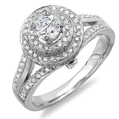 125 Carat ctw 10k White Gold Diamond Halo Style Split Shank Vintage Bridal Engagement Ring Size 7 *** You can get more details by clicking on the image.