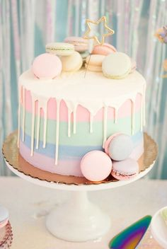 I should've got this cake for my girly pastel themed birthday! Comment birthday party themes for a 12 year old! I should've got this cake for my girly pastel themed birthday! Comment birthday party themes for a 12 year old! Birthday Cakes For Teens, Cute Birthday Cakes, Homemade Birthday Cakes, 12 Year Old Birthday Party Ideas, Rainbow Birthday Cakes, Lunch Party Ideas, Birthday Cake Designs, Cakes For Kids, Girl Birthday Party Themes