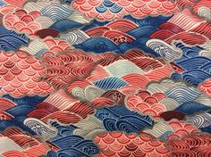 Asian Red Blue Grey Waves Abstract Cotton Fabric Quilt Fabric MD25