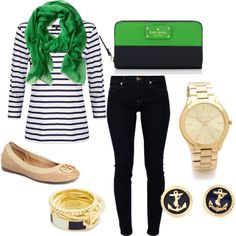"""""""Nautical Navy and Green"""" by mariaricks on Polyvore"""