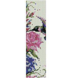 Schema peyote uccellino con fiori, rose per bracciale di AntosCreations su Etsy
