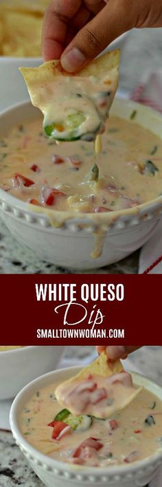 White Queso Dip is Mexican restaurant quality creamy dipping cheese that is perfect with tortilla chips or spooned over your favorite burrito. Dip Recipes, Mexican Food Recipes, Snack Recipes, Cooking Recipes, Recipies, Party Recipes, Appetizer Dips, Appetizers For Party, Appetizer Recipes