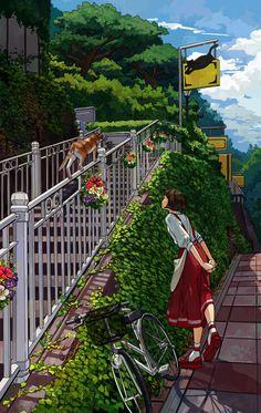 "cpieng: ""JP/I went to Japan this year… but I lost my job . Fantasy Landscape, Landscape Art, Fantasy Art, Aesthetic Art, Aesthetic Anime, Cube Photo, Go To Japan, Anime Scenery Wallpaper, Estilo Anime"