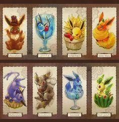 This artwork predates Sylveon, what kind of food would that Eevee be? Pokemon Go, Pikachu, Pokemon Fan Art, Cool Pokemon, Pokemon Rules, Pokemon Stuff, Pokemon Eevee Evolutions, Charizard, Games