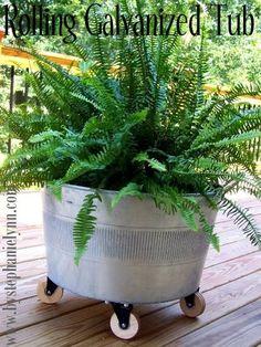 repurposed galvanized tub into planter wheels by Beatichi