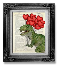 DECORATIVE ART Trex Wall Hanging T REX Dinosaur Art door GoGoBookart, $10.00