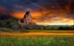 This is a multilayer composite consisting of 7 major layers. The sky is a Colorado sunset. El Capitan is near the Arizona Utah border. The foothill and trees are north of Fort Collins, CO. The background mountains are the Snowy Range in Wyoming, and the bluffs are near Casper, WY. The prairie in near the Badlands in South Dakota, and the foreground flowers are a mix from various places. I wanted my spirit mountain to stand out in a new setting.