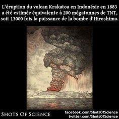 Lien (en anglais) : https://en.wikipedia.org/wiki/Krakatoa#Historical_significance #hiroshima #krakatoa #volcan Léruption du volcan Krakatoa en Indonésie en 1883 a été estimée équivalente à 200 mégatonnes de TNT soit 13000 fois la puissance de la bombe dHiroshima.