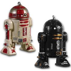 Deck the halls with...Droid ornaments? You bet! Star Wars fans will want to decorate their tree with some good old fashioned droids this holiday season. You can start with these Star Wars R2-Q5 & R2-A3 Ornaments.  Chances are you