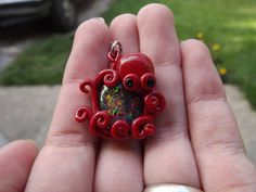 OOAK Polymer Clay Octopus Imitation Opal Pendant by smr2892, $35.00