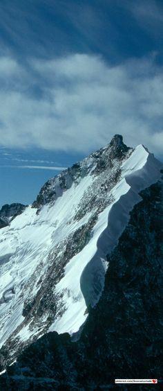 Piz Bernina mit Biancograt. Einziger Viertausender der Ostalpen und höchster Berg des Kantons Graubünden. / Piz Bernina (4,049 m /13,284 ft) is the highest mountain in the Eastern Alps.