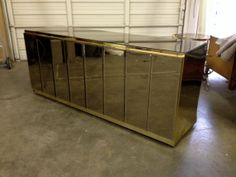 Incredible 80s Glam Ello Brass and Smoked Mirror by RefineModern, $2800.00
