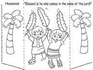 Fun, easy paper craft for Palm Sunday - Children waving Palm Branches saying Hosanna