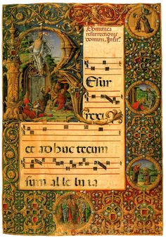 Girolamo da Cremona, Liberale da Verona - Graduale (n. 23.8), c. 2 - La Resurrezione (fine '400 - inizio '500) - Siena, Duomo