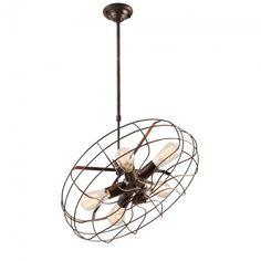 Fulham Vintage 5 Light Fan Ceiling Lamp