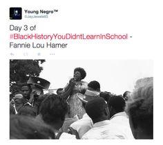 Day 3 of #BlackHistoryYouDidntLearnInSchool - Fannie Lou Hamer.   #FannieLouHamer #BlackHistoryMonth